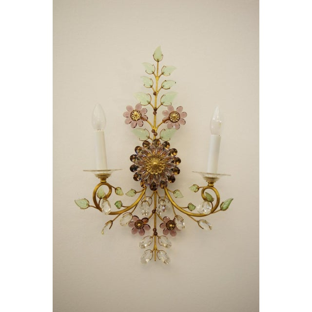 Austrian vintage crystal flowers wall sconce For Sale - Image 10 of 10