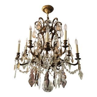 Large Vintage French Ten-Arm Chandelier