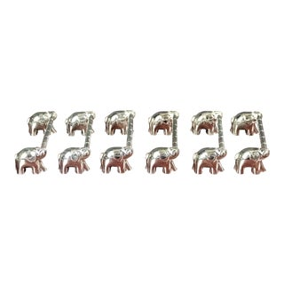 Silver Plated Double Elephant Knife Rests - Set of 6 For Sale
