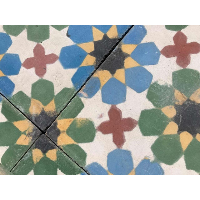 Moroccan Encaustic Cement Tiles with Traditional Fez Moorish Design For Sale In Los Angeles - Image 6 of 7