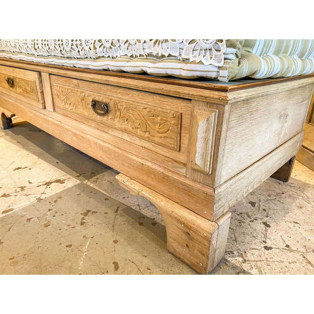 19th Century French Wood Banquette Bench With Cotton Cushion and Storage For Sale In Houston - Image 6 of 13