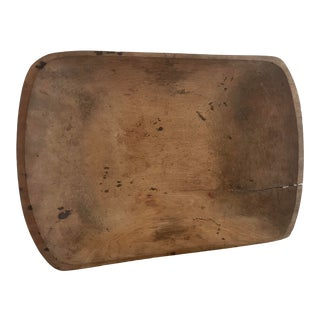 Large Antique Hand Carved Wood Dough Bowl For Sale