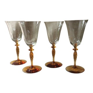 Vintage American Amber Footed Crystal Wine Glasses - Set of Four For Sale