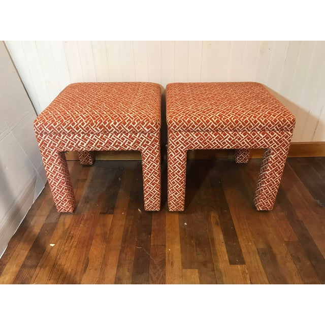 Vintage Mid Century Modern Print Fabric Matched Ottomans Pair For Sale - Image 9 of 9