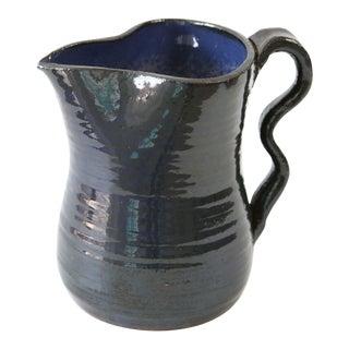 1970s Blue Ceramic Picher