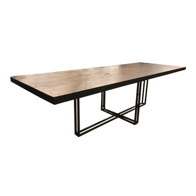 Large Rustic Oak Dining Table For Sale