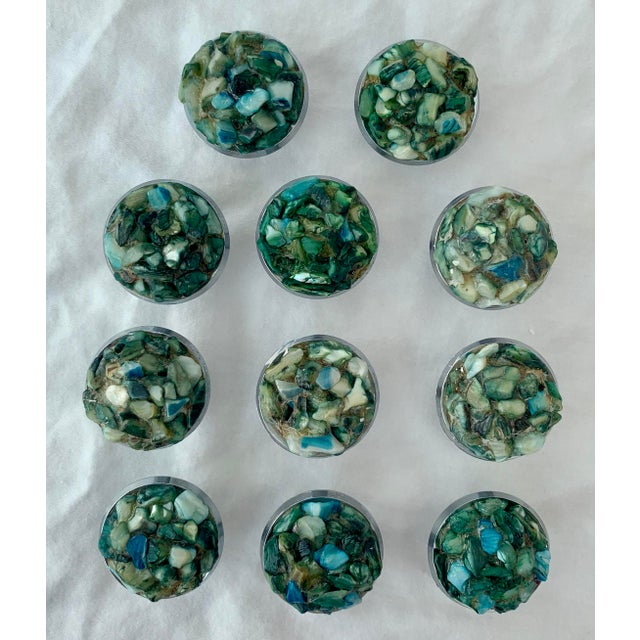Mid-Century Modern 1960s Mid-Century Chrome and Shell Cabinet Knobs - Set of 11 For Sale - Image 3 of 6