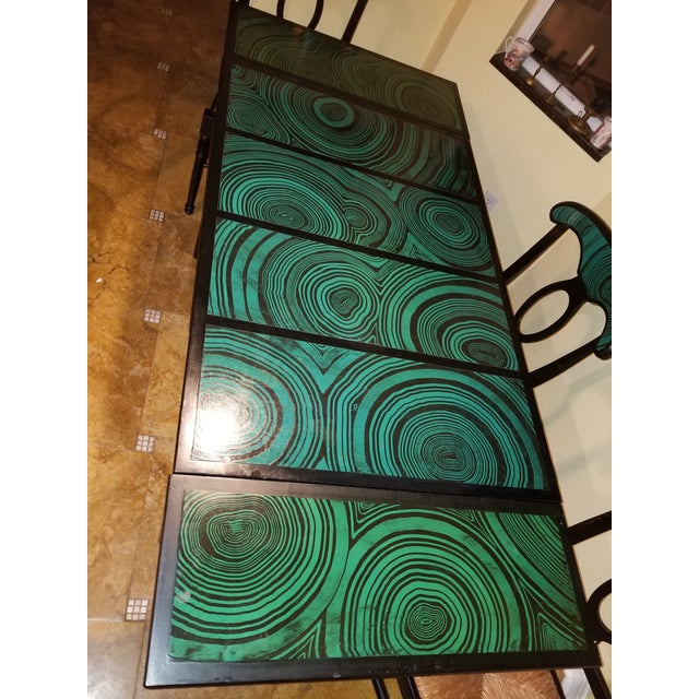 1970s 1970s Mid Century Faux Malachite Dining Set 5 Piece Set 1 Table 4 Chairs 2 Leaves All Matching! For Sale - Image 5 of 13