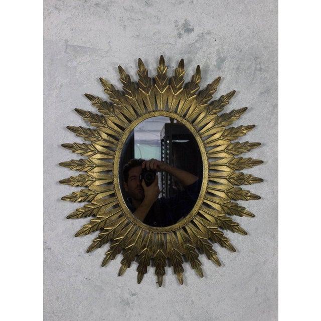 Gilt Metal Oval Sunburst Mirror - Image 8 of 9