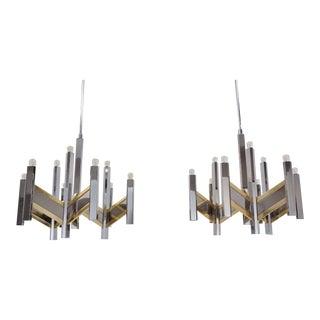 "1970s Sciolari ""Chevron"" 9 Lights Chandeliers in Brass & Chrome, Italian - a Pair For Sale"