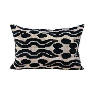 Kim Salmela Turkish Silk Velvet Black and White Ikat Lumbar Pillow For Sale