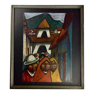 Vintage Mid Century Painting by Ecuadorian Artist Arturo Nieto For Sale