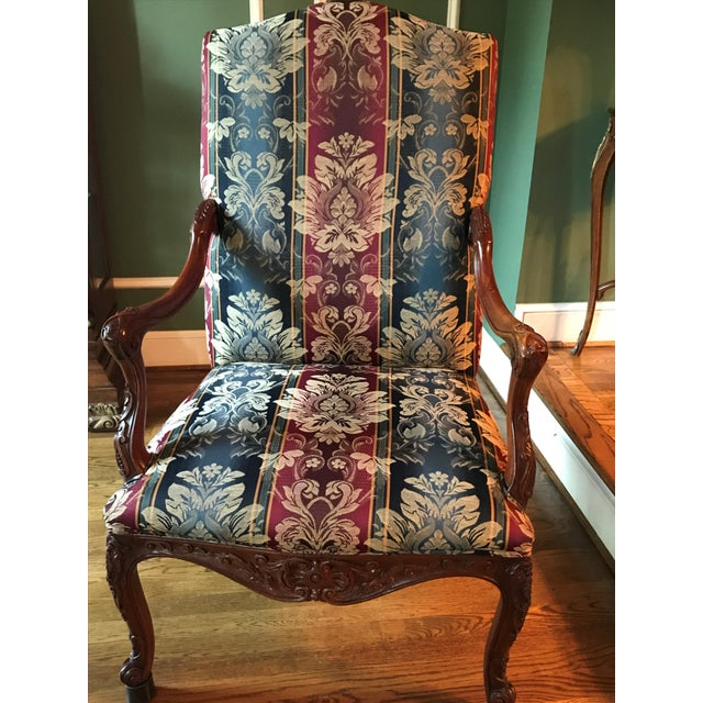 Antique Transitional Style Blue Chair - Image 4 of 5