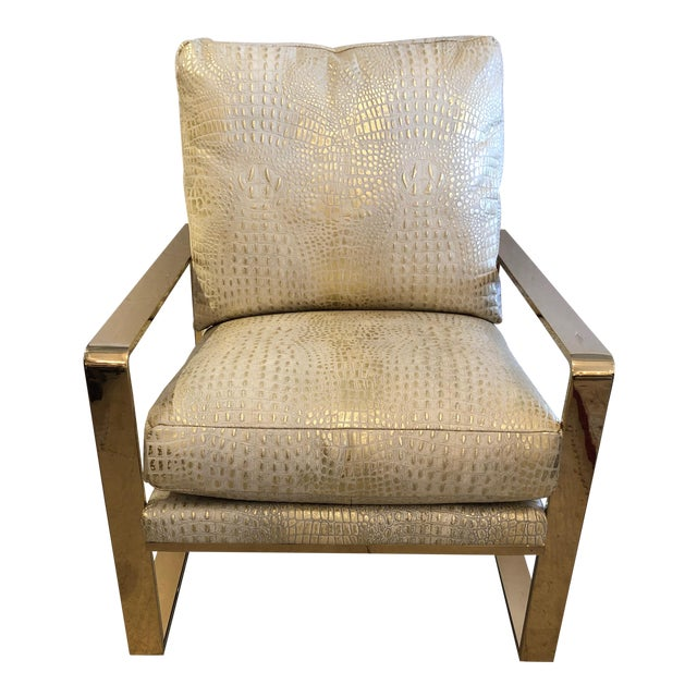 Metallic Faux Crocodile and Brass Club Chair For Sale