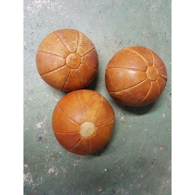 Leather Vintage German Medicine Balls, 1950s - Set of 3 For Sale - Image 4 of 5