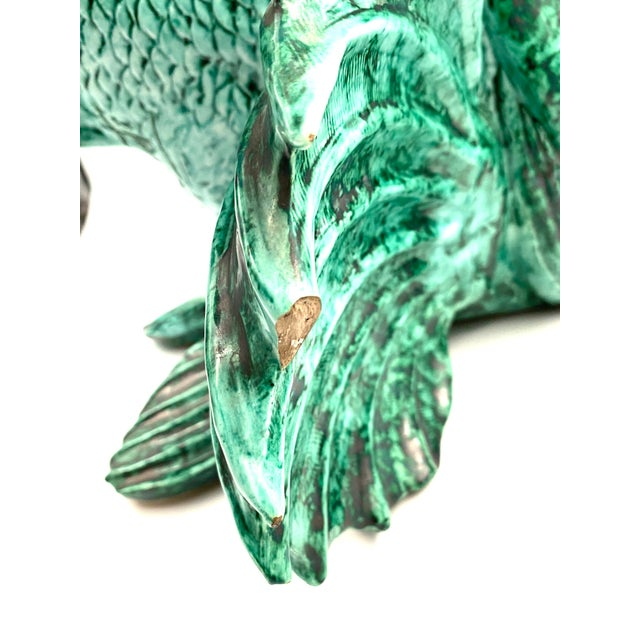 """1934 Guido Cacciapuoti """"Pesce Scorfano"""" Sculpture in Glazed Green Earthenware Signed and Dated For Sale - Image 12 of 13"""