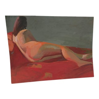 Vintage Mid-Century Modernist Nude Painting For Sale
