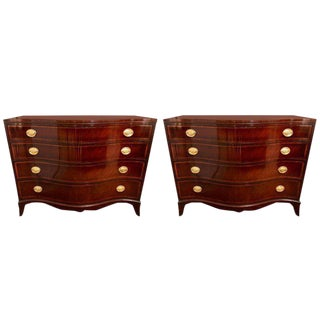 Pair of Georgian Style Banded Mahogany Serpentine Front Commodes by Fancher Furn