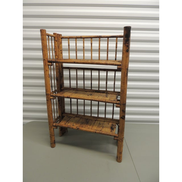 Antique English Country Faux Bamboo Folding Etagere - Image 2 of 6