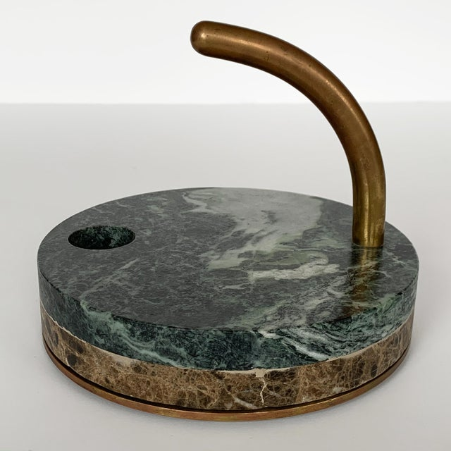 Metal 1980s Italian Modernist Marble and Bronze Candleholders - a Pair For Sale - Image 7 of 10