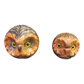 Mid-Century Italian Hand Carved Alabaster Owls - A Pair For Sale