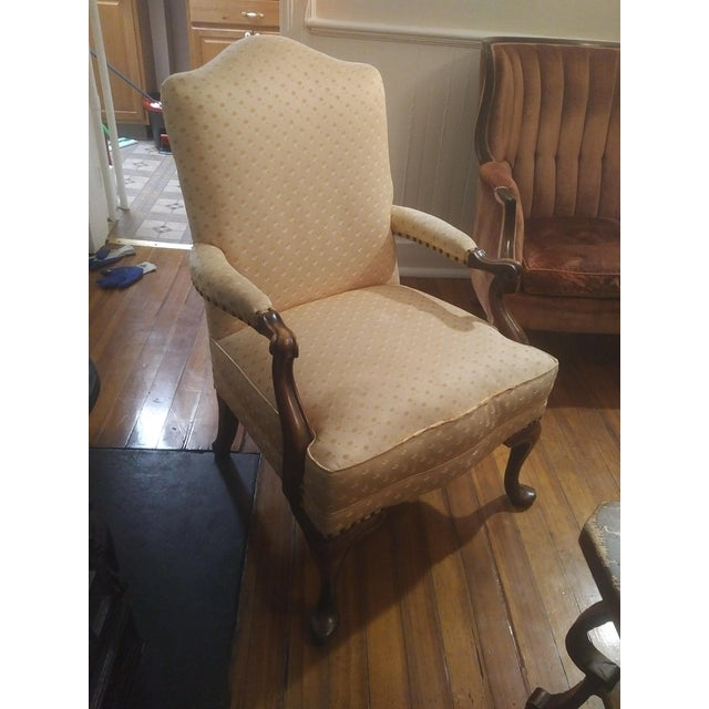 1940s Americana Baker Furniture Light Pink Wingback Armchair For Sale In New York - Image 6 of 12