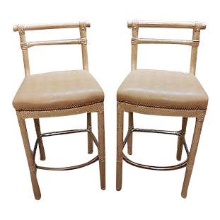 Quality Pair of Faux Bamboo Crackle Paint Bar Stools For Sale