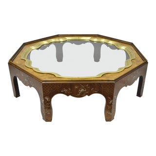 Baker Collectors Edition Chinoiserie Brass Glass Octagonal Coffee Table For Sale