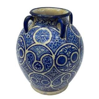 Large Moroccan Hispano-Moorish Blue and White Ceramic Handled Jar Preview