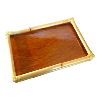 Mid-Century Modern Bamboo Rattan and Teak Serving Tray For Sale