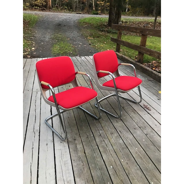 Vintage Chrome and Red Fabric Cantilever Steelcase Arm Chairs- a Pair For Sale - Image 10 of 10
