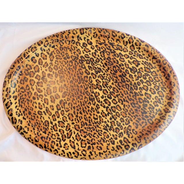 (Final Markdown Taken) Vintage 1980's Leopard Design Regency Tray For Sale - Image 9 of 9