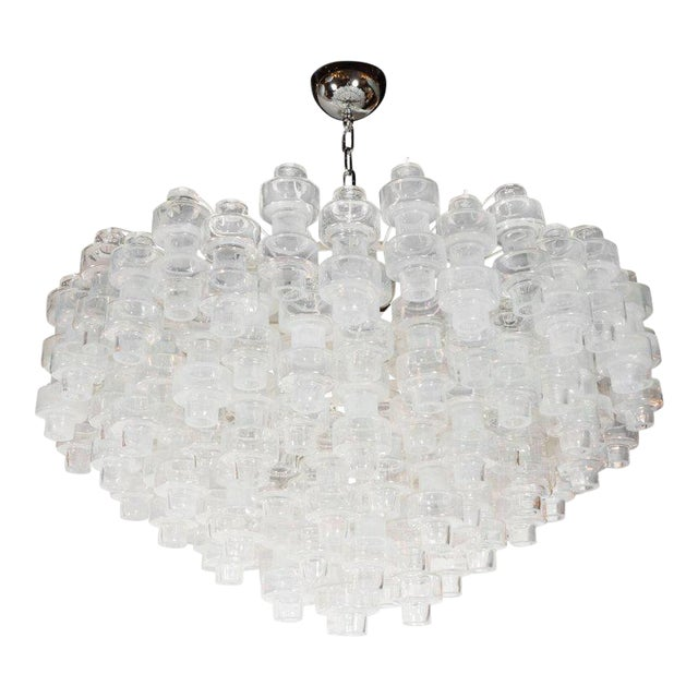 Modernist Opalescent and Clear Murano Glass Barbell Chandelier For Sale