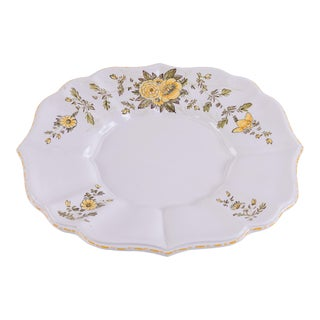 Madcap Cottage Italian Ceramic Serving Platter With Yellow Flowers For Sale