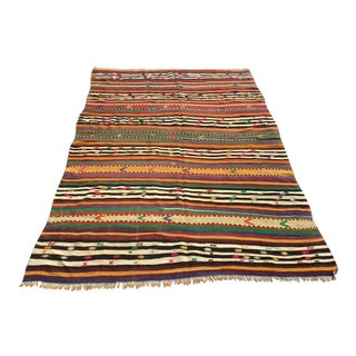 Striped Vintage Turkish Kilim Rug For Sale