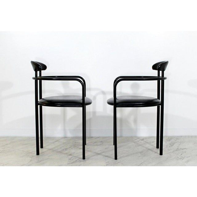 1970s Mid-Century Modern Memphis Loewenstein Black Leather Dining Armchairs - Set of 6 For Sale In Detroit - Image 6 of 10