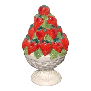 Italian Ceramic Strawberry Topiary For Sale
