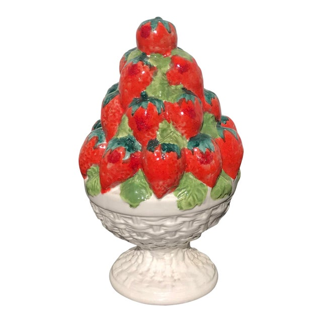 Italian Ceramic Strawberry Topiary For Sale
