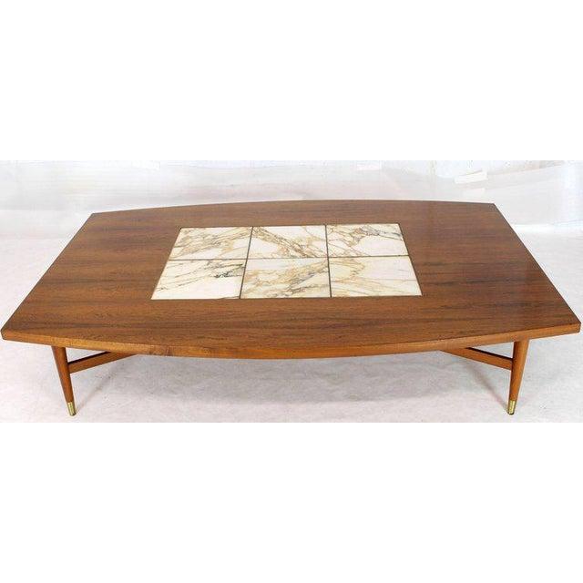 Fine Large Oversize Boat Shape Rosewood Walnut Coffee Table