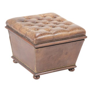 Chesterfield Leather Ottoman with Lift Top for Storage For Sale