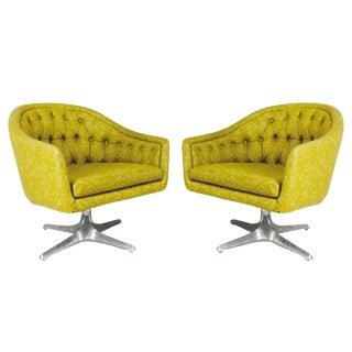 Pair of MCM Chromcraft Swivel Chairs With Propeller Pedestal Base For Sale