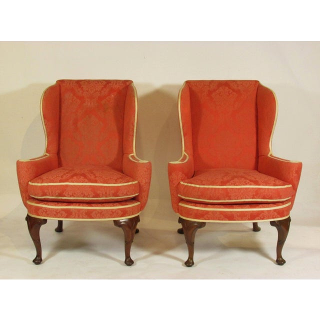 Late 19th Century George II Style Wing-Back Chairs - a Pair For Sale - Image 12 of 12