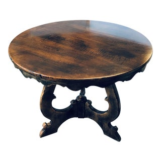 Italian Guido Zichele Round Walnut Table For Sale