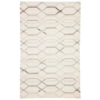 Jaipur Living Laveer Handmade Trellis Ivory/ Light Gray Area Rug - 9′ × 12′ For Sale