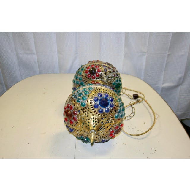 Vintage 1970s Turkish Brass Multicolor Lantern For Sale In Raleigh - Image 6 of 9