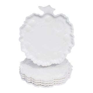 White Milk Glass Cabbage Dessert Plates or Trays - Set of 5 For Sale