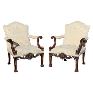 Pair of Georgian Style Mahogany Armchairs For Sale