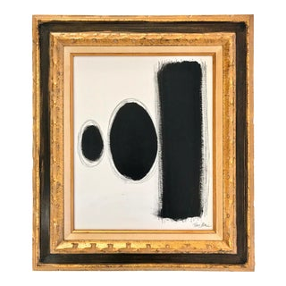 Mid-Century Inspired Abstract Painting in Gold Frame by Tony Marine For Sale