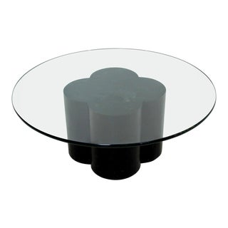 1970s Mid Century Modern Jere Trefoil Black Lacquer Pedestal Base Coffee Table For Sale