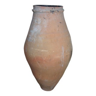 "Antique Clay Amphora Vessel Floor Vase - 35"" For Sale"